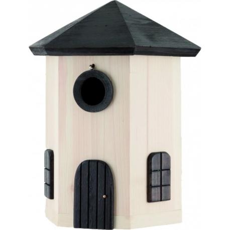 """Nido per uccelli con mangiatoia fienile """"Tower Nest Box White"""""""