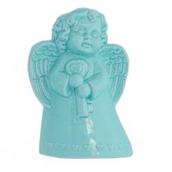 Evaporiamo, Angioletto azzurro in porcellana Cm. 13xh. 19 Cm. - Rose & Tulipani