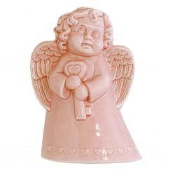 Evaporiamo, Angioletto rosa in porcellana Cm. 13xh. 19 Cm. - Rose & Tulipani
