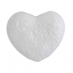 Evaporiamo, Cuore bianco in porcellana Cm. 17xh. 15 Cm. - Rose & Tulipani