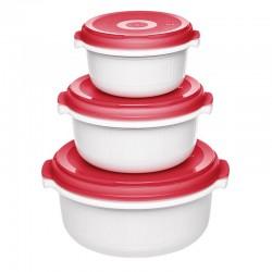 Micro Family, Set primi pasti microonde 3 pezzi bianco/rosso 0,5/1,0/1,5 lt. - Emsa
