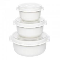 Micro Family, Set primi pasti microonde 3 pezzi bianco/trasparente 0,5/1,0/1,5 lt. - Emsa