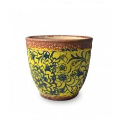 Pot pot, Vaso giallo opaco - fantasia blu d. 15 x h. 13 cm. - Zafferano