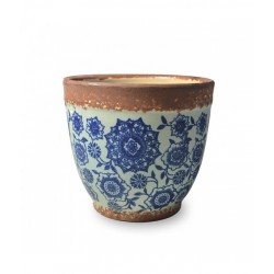 Pot pot, Vaso bluino opaco - fantasia blu d. 15 x h. 13 cm. - Zafferano