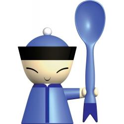Mr. Chin, Portauovo con spargisale e cucchiaino - Alessi