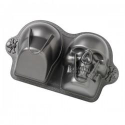Tortiera antiaderente teschio 3D per festa Halloween - Wilton