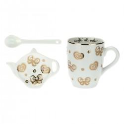 Set mug, poggiabustina e cucchiaino Gold Icons - Thun