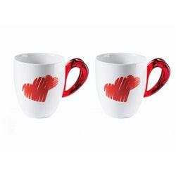 Set 2 mug love rosso trasparente - Guzzini