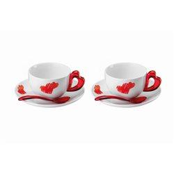 Set 2 tazze cappuccino c/piattino love rosso trasparente - Guzzini
