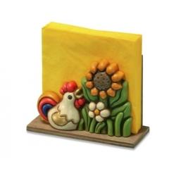 Portatovaglioli gallo e fiori - Thun