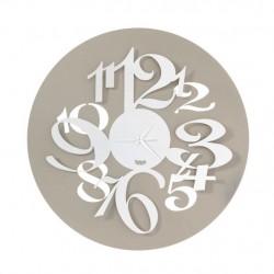 Orologio Focus con numeri grandi effetto tridimensionale, Sabbia e Bianco - Arti e Mestieri