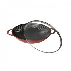 Wok in ghisa con coperchio rosso ciliegia Cm. 37 - Staub