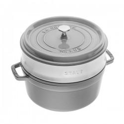 Cocotte in ghisa tonda con cestello a vapore grigio grafite Cm. 26 - Staub