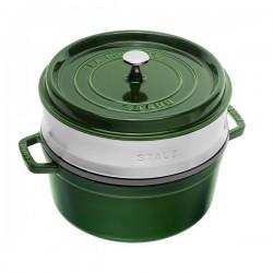 Cocotte in ghisa tonda con cestello a vapore verde basilico Cm. 26 - Staub
