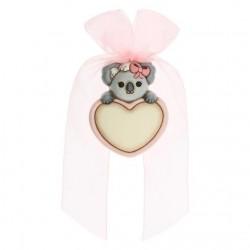 Coccarda nascita lei a forma di cuore personalizzabile con Koala - Thun