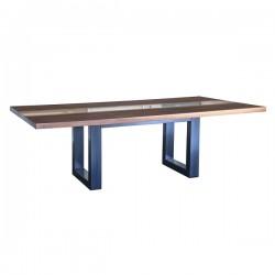 Tavolo con inserto di resina in legno di noce italiano con basi in ferro - Grattoni