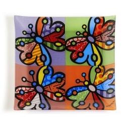 Piatto quadrato vetro butterfly - Romero Britto