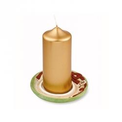 Candela con piattino natalizio, verde soft - Thun