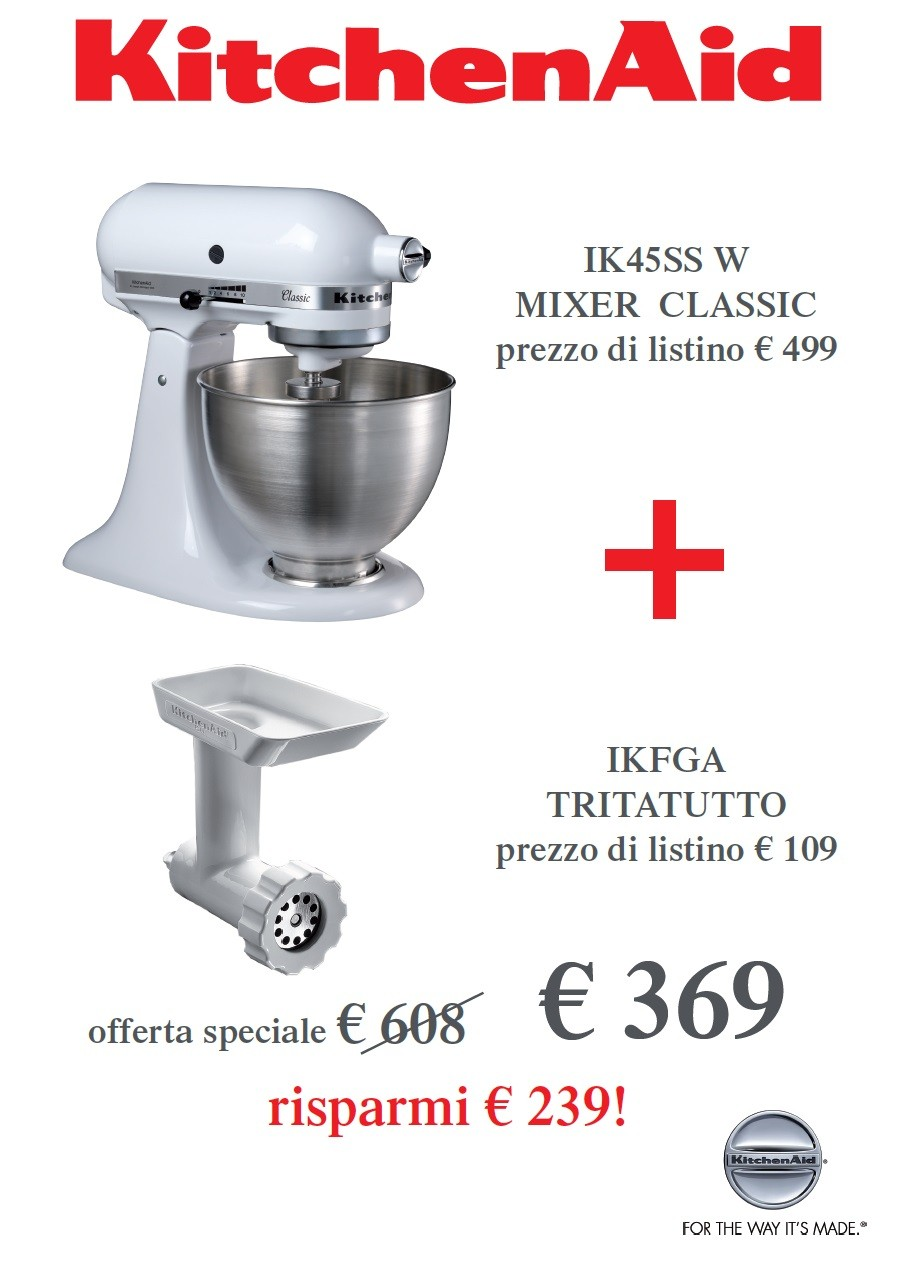 Offerta Robot, Bianco + Tritatutto - KitchenAid Classic | Idea Rega...