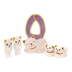 Confezione babbucce, moffole, bavaglino gattino 6 mesi - Thun