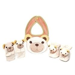 Confezione babbucce, moffole, bavaglino teddy 6 mesi - Thun